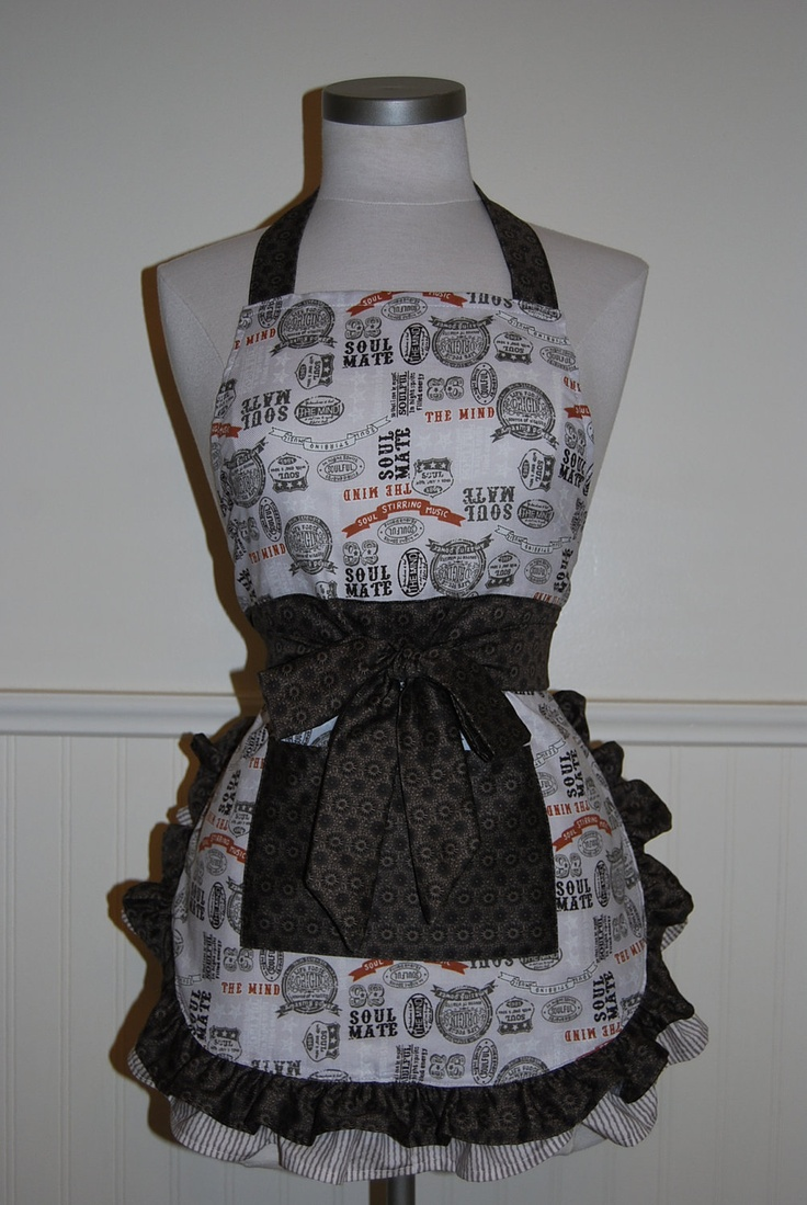 White apron etsy - Soul Mate Apron With Large Front Pocket And Double Layered Ruffles