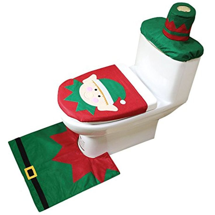TTLIFE Toilet Seat Cover Set Elf Pattern 3 Pcs For Christmas Decorations With Lid