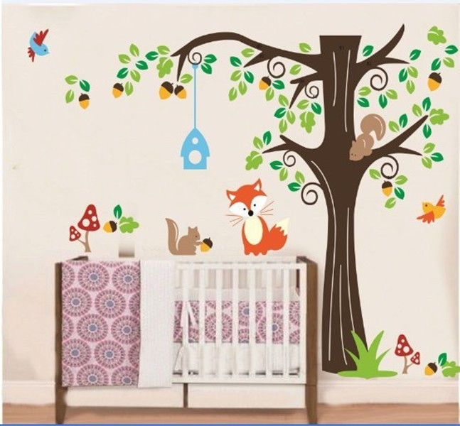 Large Forest Animals Bird Cage tree Wall Sticker Art Decal Decor Kid Nursery