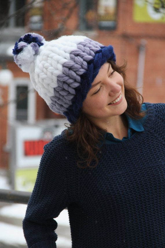 SALE 15% OFF Navy Lavender White Winter Hat/Warm by PomPomTheHats