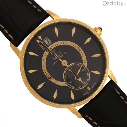 Złoty zegarek męski na skórzanym pasku