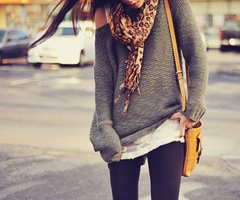 .: Big Sweaters, Slouchy Sweaters, Over Sweaters, Fall Outfits, Leopards Scarfs, Leopards Prints, Comfy Sweater, Oversized Sweaters, Sweaters Scarfs