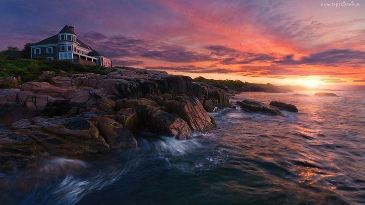 Zachód, Słońca, Morze, Kamienie, Dom