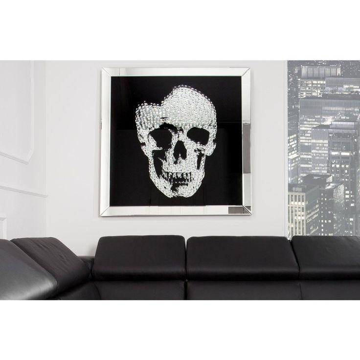 Modern schilderij spiegel schedel 100x100cm - 35041