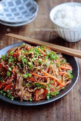 ♡フライパンde超簡単♡豚肉と残り野菜の甘辛チャプチェ♡【#時短#節約#春雨#ヘルシー】 レシピブログ