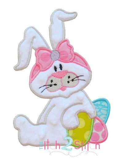 Easter Bunny Applique Design For Machine Embroidery Hoop Size(s) 4x4, 5x7, and 6x10 INSTANT DOWNLOAD now available on Etsy, $4.00