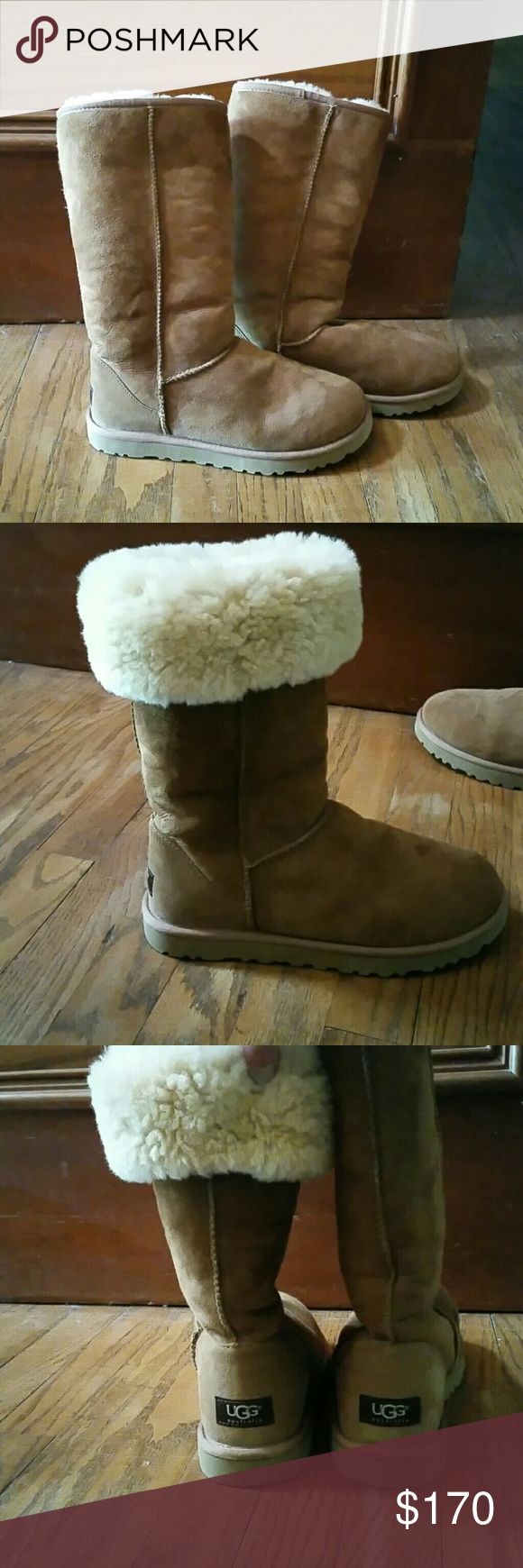 UGG - WORN ONCE - Offers Welcome. UGG - CLASSIC TALL CHESTNUT WOMENS BOOTS - WORN ONCE. WARM INTERIOR FABRIC AS PICTURED.  CAN BE WORN TALL OR ROLLED DOWN FOR EFFECT. Shoes Winter & Rain Boots