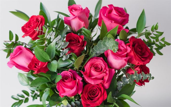 Download wallpapers pink roses, festive bouquet, beautiful pink flowers, gift, March 8, roses