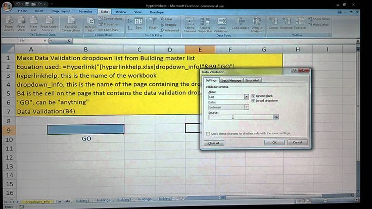 How to use Hyperlink function from drop down menu data validation list t...
