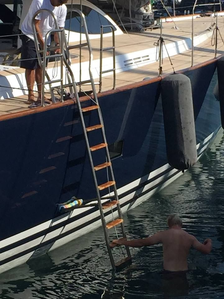 Recently delivered to Green Marine Ltd built S/Y Sojana... titanium folding swim ladder, custom designed for people with limited mobility or upper body strength. More incredible work from our team of specialists For all metal fabrication solutions contact james@vcmetalwork.com +34 603 50 55 82
