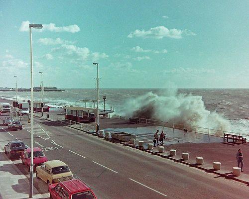 Rough Sea St Leonards On Sea on promenade 1990s