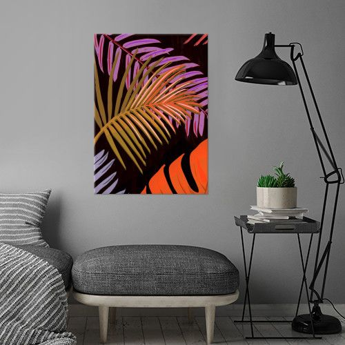 TROPICAL LEAVES & BLACK no2b. Colorful Palm Leaves on black background. Vector & Mixed Media. ©5-2017 by Pia Schneider, atelier COLOUR-VISION. #art #tropical #exotic #piaschneider #displate #leaves #plants #palm