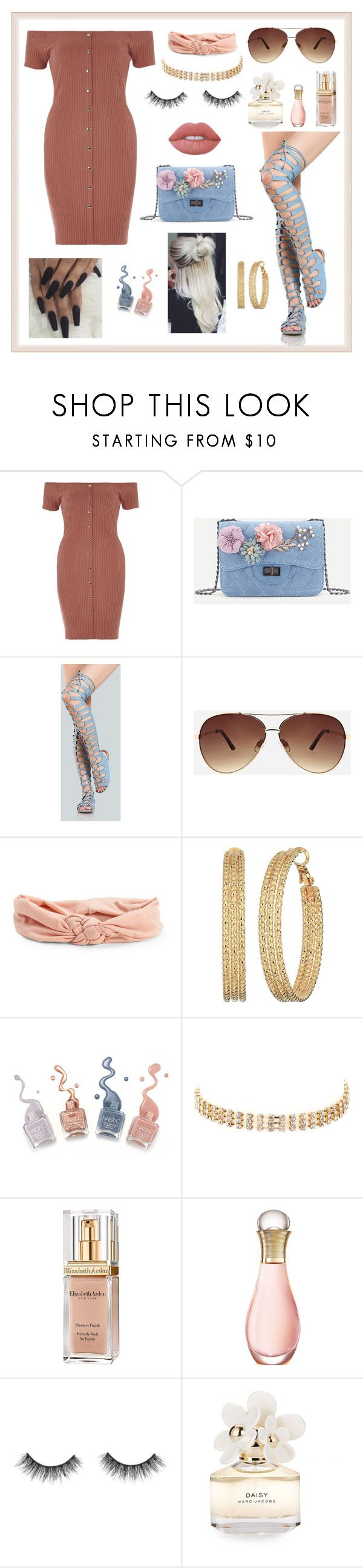 """Darling Denim"" by mcadamsa on Polyvore featuring River Island, Ashley Stewart, Aéropostale, GUESS, Ettika, Elizabeth Arden, Christian Dior, Marc Jacobs, Lime Crime and gladiatorsandles"