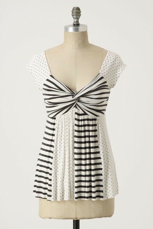 1b0ac2a2e613 New-Size XS-Anthropologie-Bailey44-Tempted Stripes Tee-White/Navy ...