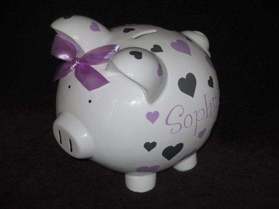 Alcancía personalizada corazones por PiggyQs en Etsy
