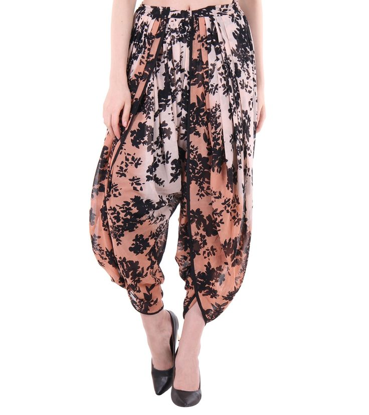 Multicoloured Georgette Printed Cowl Flare Dhoti Look Salwar #indianroots #ethnicwear #dhoti #georgette #cowl #flare #printed #summerwear #casualwear
