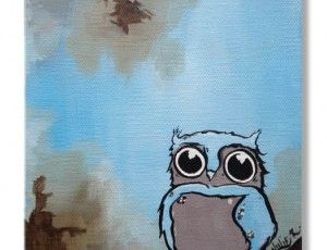 Owelie 6x6 Original Painting. So CUTE! Perfect for baby's room!