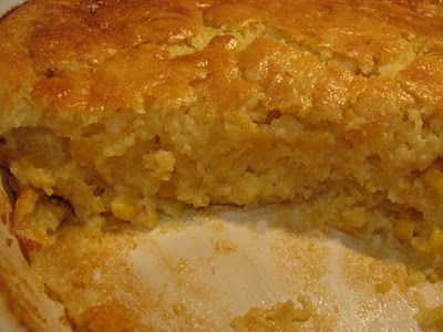 Corn Souffle--half the sugar, portion size baking dishes for 35 mins at 350