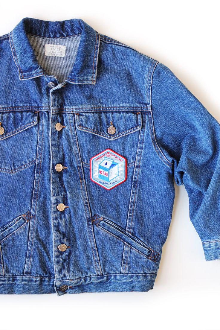 Denim jacket with Boy Tears iron on patch