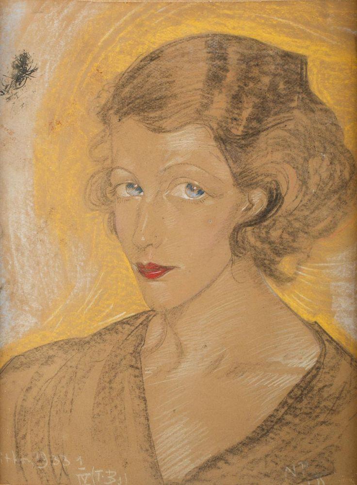 STANISŁAW IGNACY WITKIEWICZ (WITKACY 1885 - 1939) PORTRET KOBIECY, 1 IV 1933 pastel, papier beżowy; / 62x47 cm