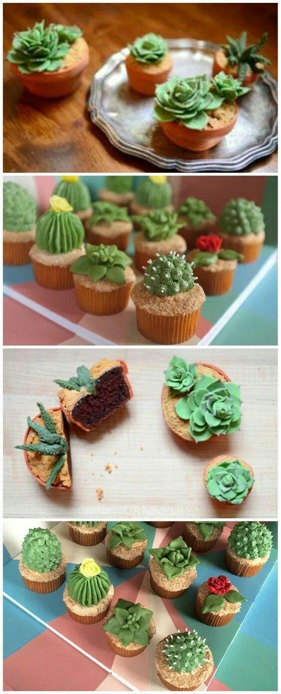 Cupcakes decorados con cactus y suculentas de fondant y buttercream