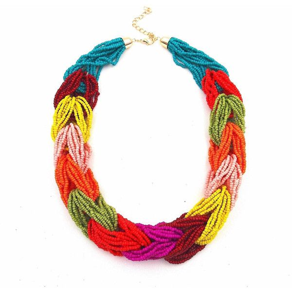 Multi coloured Weave Braided Beaded Collar Statement Necklace... ($18) ❤ liked on Polyvore featuring jewelry, necklaces, beaded collar necklace, native american beaded necklace, boho statement necklace, boho necklaces and yellow statement necklace