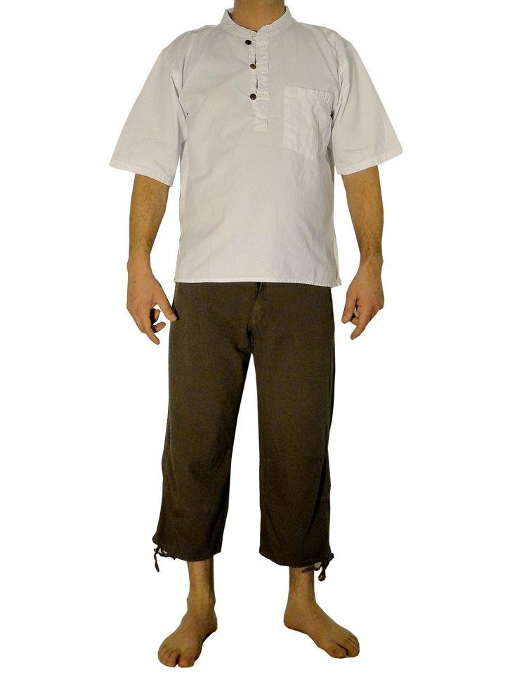 Vêtements ethniques : pantacourt homme taupe