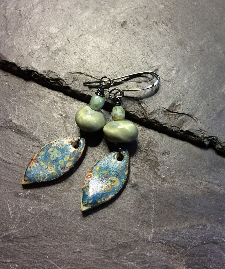 Boho style decal drop earrings from Grubbi ceramics with ceramic beads by ButtonsnBits on Etsy