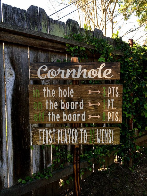 Cornhole Rules Sign, Lawn Games Signs, Company Picnic, Wedding Signs, 4th of July Party Sign, Outdoor Party Signs, Directional Yard Stake