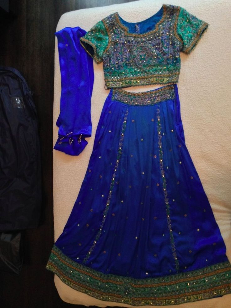 Vibrant Blue Silk Ghagra Choli Bandhani Mint! Lehenga Sari Saree