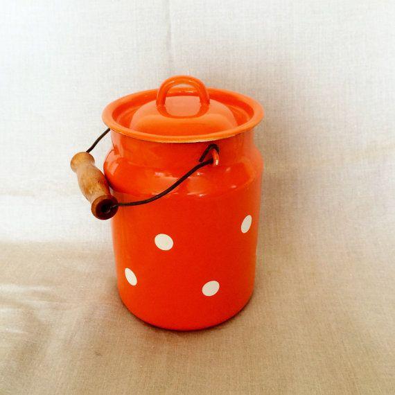 Vintage Enamel Polka dot milk can container soviet by maxilt3