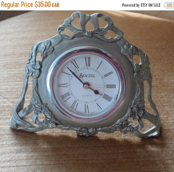 On Sale SEAGULL PEWTER CLOCK / Vintage 1990s / Small by BYGONERA