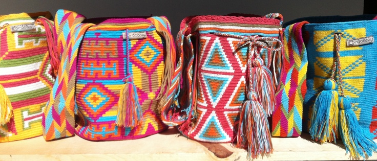 Wayuu mochilas  Handwoven bags by a single crochet needle. Made by the Wayuu women in Colombia. A labor of love, 160 hours  www.CordoBags.com