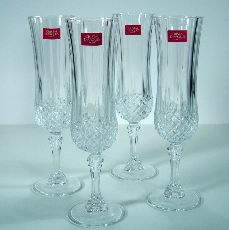 longchamp cristal d 39 arques paris france qty 4 champagne flutes 4 5 original box longchamp are. Black Bedroom Furniture Sets. Home Design Ideas