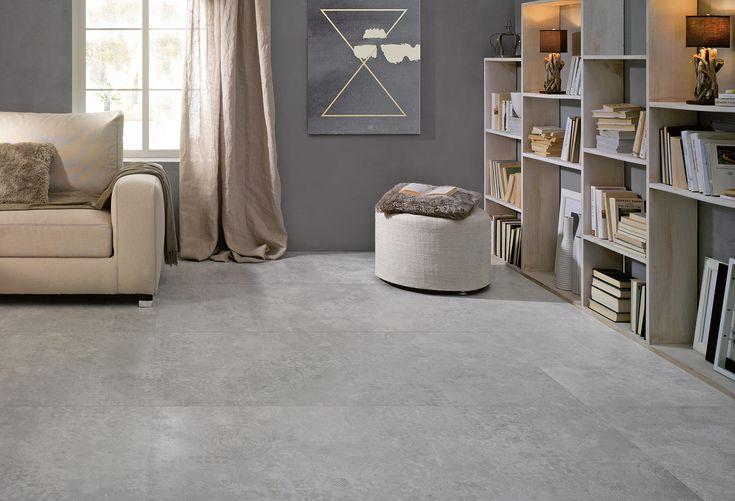Licht grijze rustige betonlooktegel in 75x75 03 de for Carrelage 75x75
