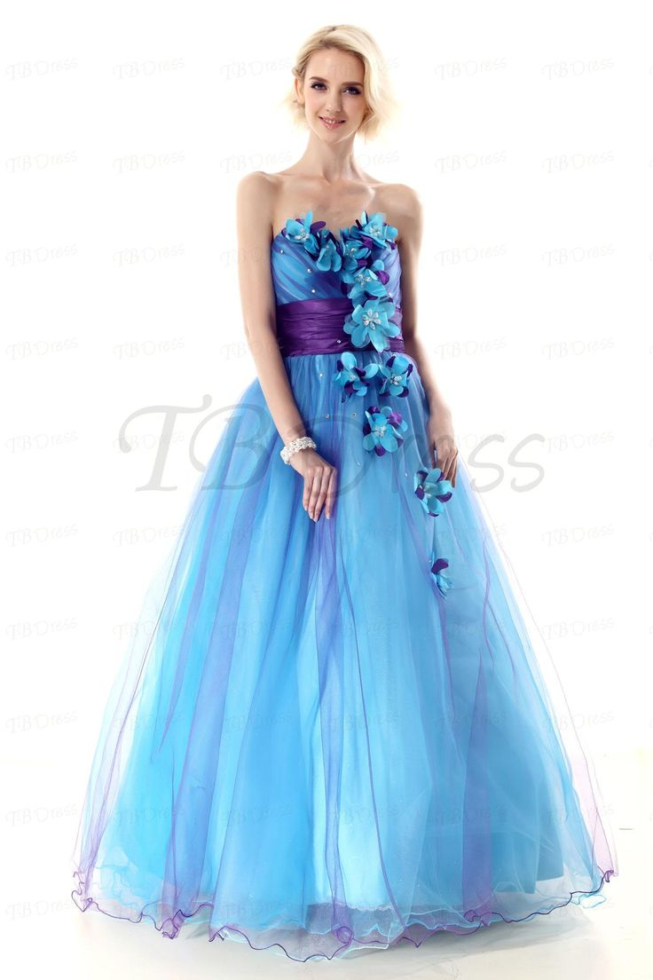 Sexy Sweetheart Floor Length Flowers Ball Gown Nastyes Prom Dress Blue And Purple Long