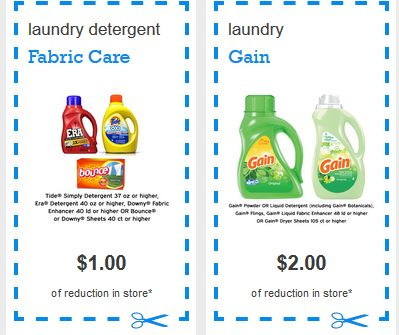 $2/1 Gain Detergent Detergent (Liquid, Powder or Flings) Or Gain Fabric Enhancer & $1/1 Tide Simply or Era Detergent or 40 Count or Higher Downy or Bounce Sheets!