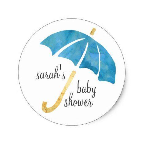 #babyshowerinvitations #babyshower #trendy Blue Umbrella Baby Shower Favor Stickers