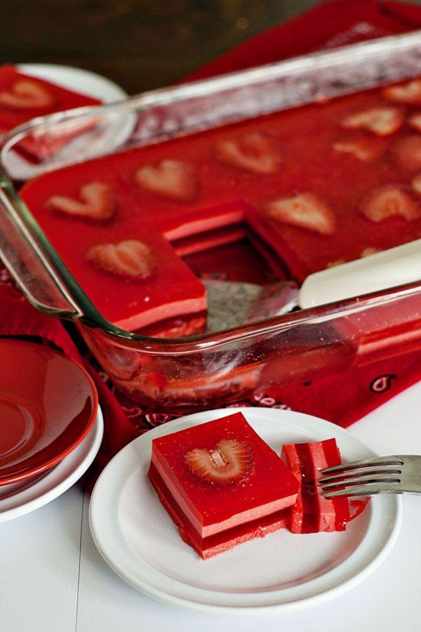 Valentine's Layered Jello Squares with Strawberry Hearts!