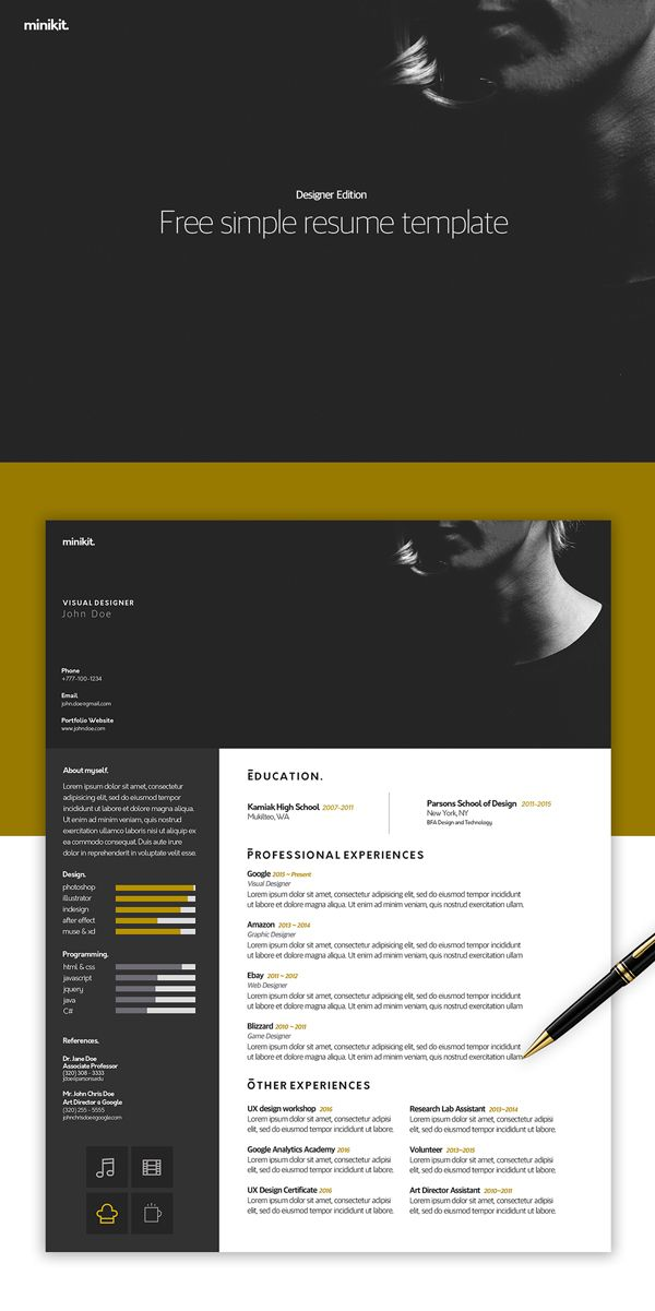 Free Resume Template for Desigenrs 500 best