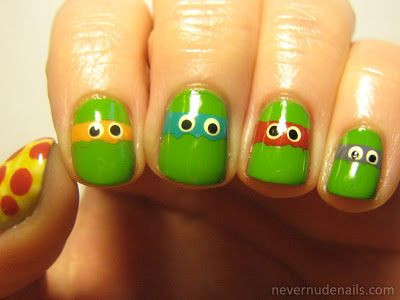 Love the simplicity. It makes me want to do an even more subtle Ninja Turtles nail. Like green with each color French tip style. Love the pizza thumb.