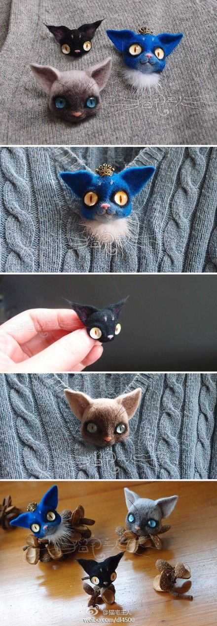 Needle felted cat brooches