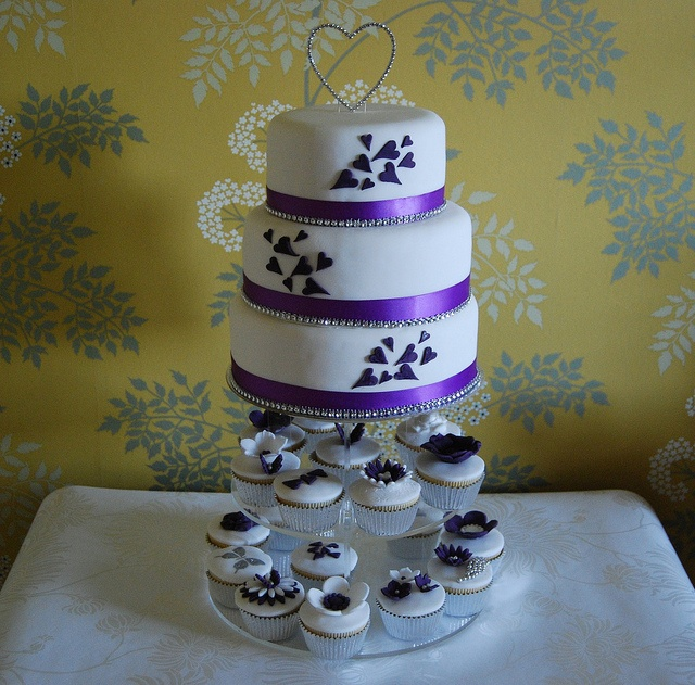 PURPLE HEART WEDDING CAKE DIAMANTE TRIMMING   AND  A SELECTION OF CUPCAKES by Stephs cupcakes, via Flickr