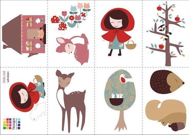 Roodkapje Muurstickers, ieder plaatje is een A4 formaat sticker. www.dreumesenzo.nl  little red riding