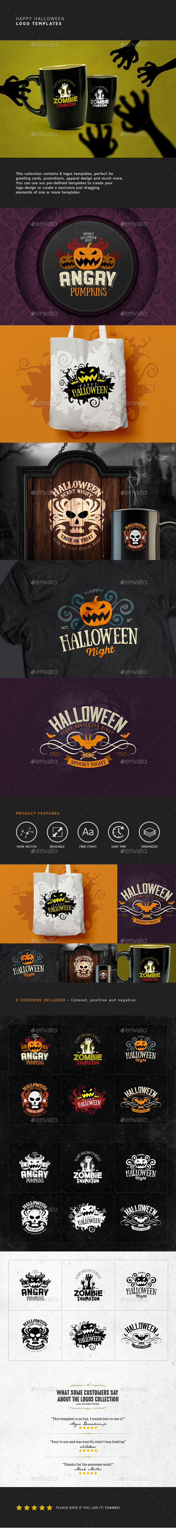 Happy Halloween Badge Logo Design Templates - Badges & Stickers Web Elements Template PSD. Download here: https://graphicriver.net/item/happy-halloween-logo-templates/17912834?ref=yinkira