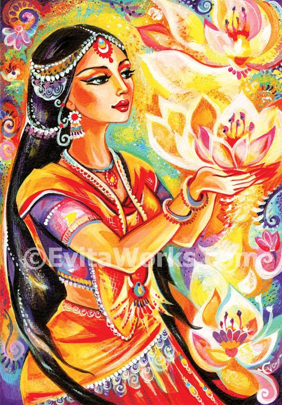 praying woman Indian woman painting Indian decor altar art goddess art lotus giclee, signed print, 5x7 7x10 10.5x15