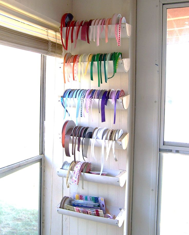 Scraproom: Ribbon Holder...pvc pipe, rain gutter, or oatmeal containers cut in half