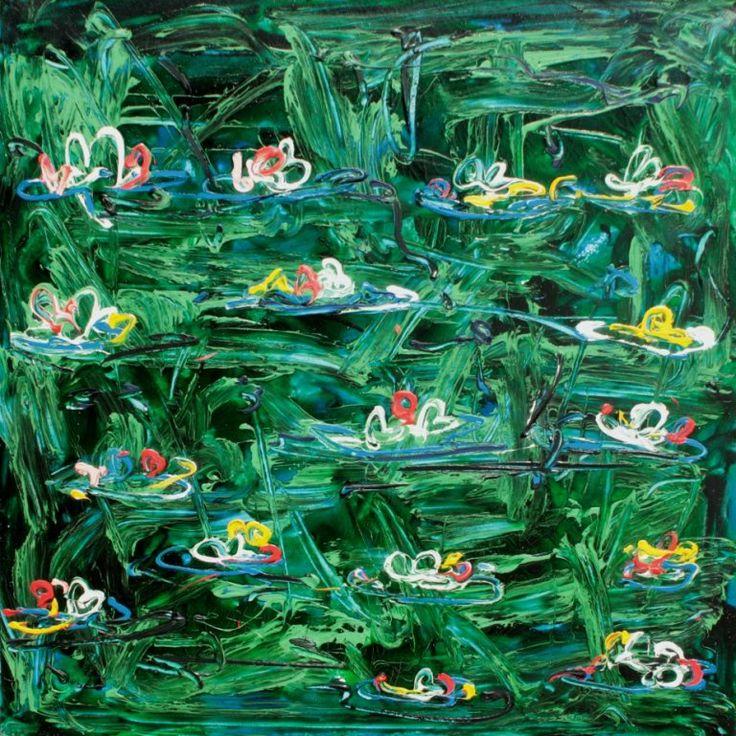 Mario SCHIFANO (1934-1998) Ninfee - 1983 Email et acryl