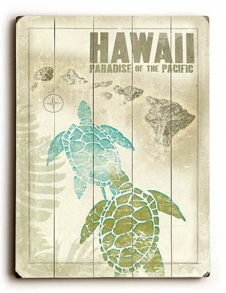 Hawaiian Turtle Vintage Beach Sign: Beach Decor, Coastal Decor, Nautical Decor, Tropical Decor, Luxury Beach Cottage Decor