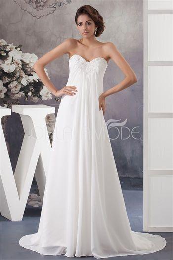 Robe de mariée pas cher empire simple ornée d´appliques en satin et chiffon
